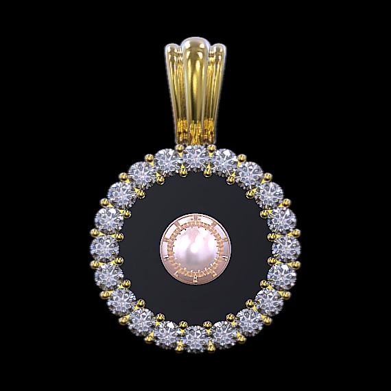 円形に配列されたダイヤモンドの中央に真珠を配置したフローティングジェムのペンダントトップ