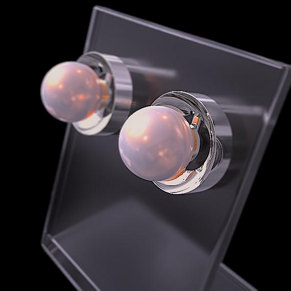 皿形状のピアスに真珠を組み合わせたフローティングジェム