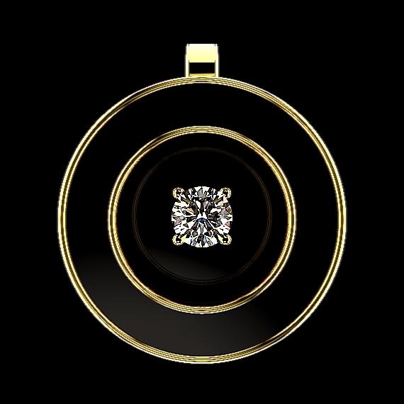 円形のペンダントトップに黒色の七宝焼きを施し、中央にダイヤモンドを配置したフローティングジェム